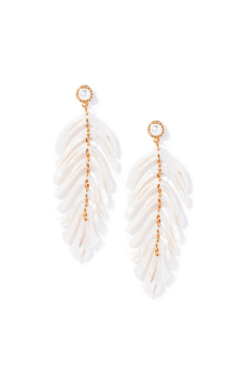 Pearl Palm Dangle Earrings - Ivory