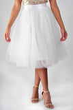 Tulle Midi Skirt - White
