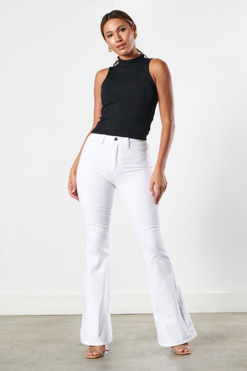 Tyra Mid Rise Boot Cut Jeans - White