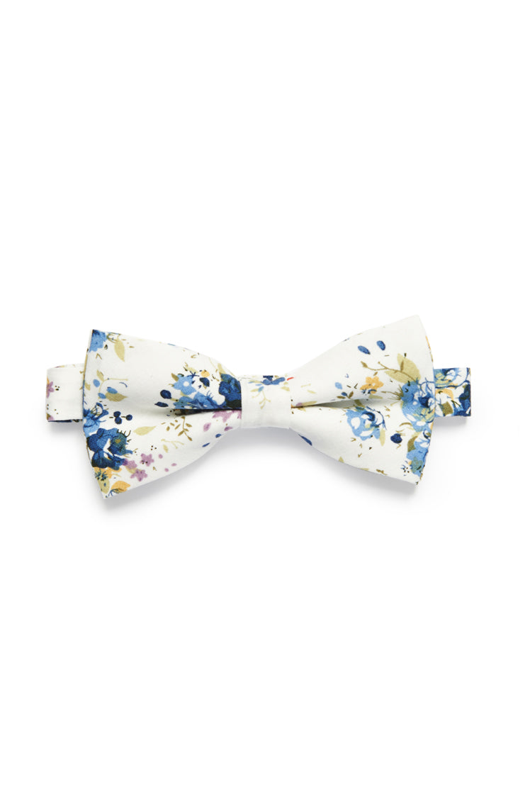 Shabby Chic Floral Bow Tie - Ivory/Royal Blue