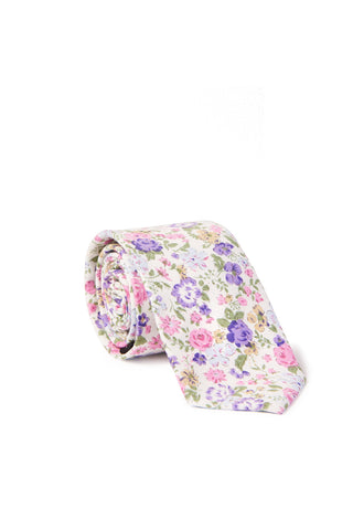 """William"" Floral Print Neck Tie - Pink & Purple"