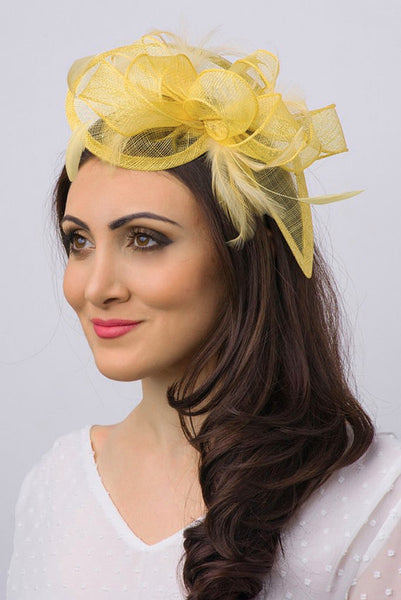 """Penny"" Fascinator - Yellow"