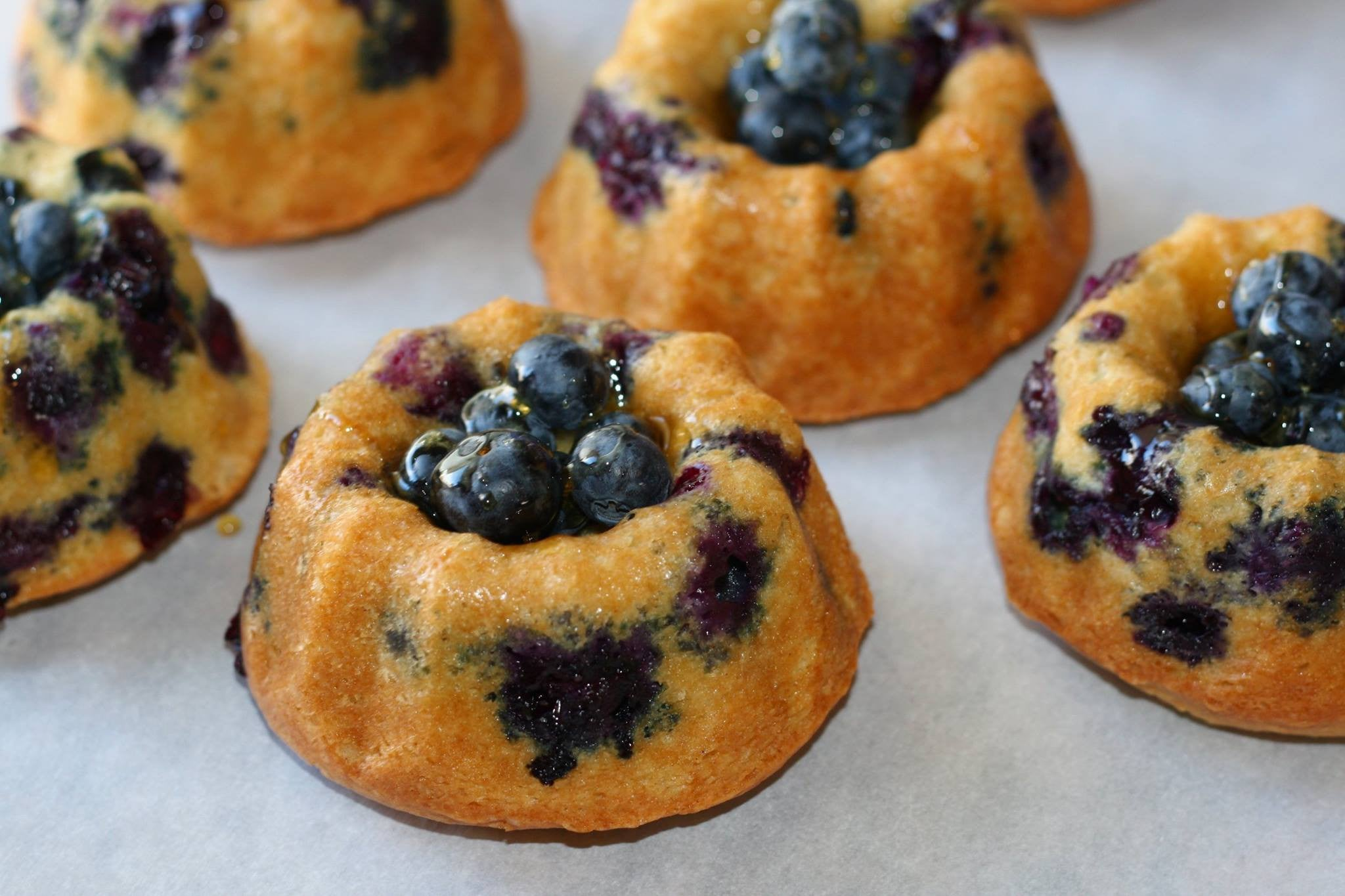 Blueberry Lemon Olive Oil Sour Cream Bundt Cakes