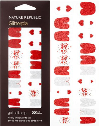 COLOR & NATURE GLITTERPIA GEL NAIL STRIP RED BEAM HEART