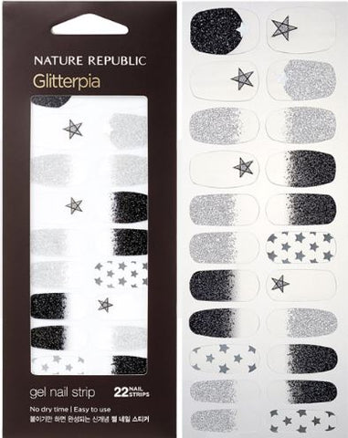 COLOR & NATURE GLITTERPIA GEL NAIL STRIP LEATHER FIT STAR (CRAZY SALE )