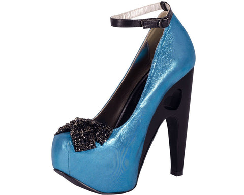 Turquoise Metallic Heart Cut Out Platform Heel - T.U.K.