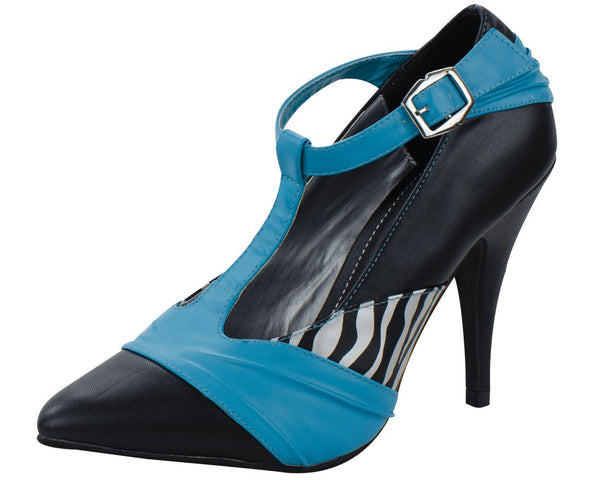 Black, teal and zebra t-strap pin-up heel - T.U.K.