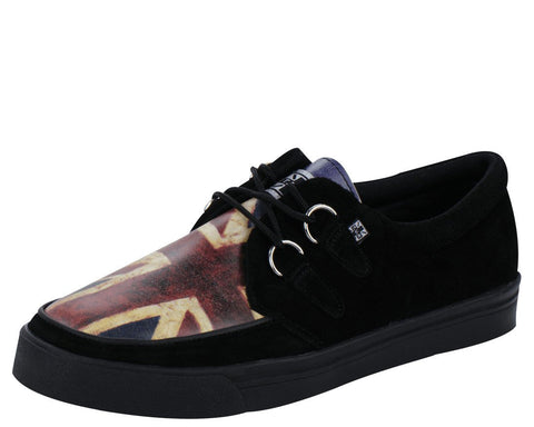 Black Suede Union Jack 2-ring creeper sneaker - T.U.K.