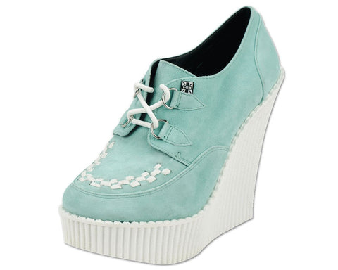 Mint Suede Creeper Wedge