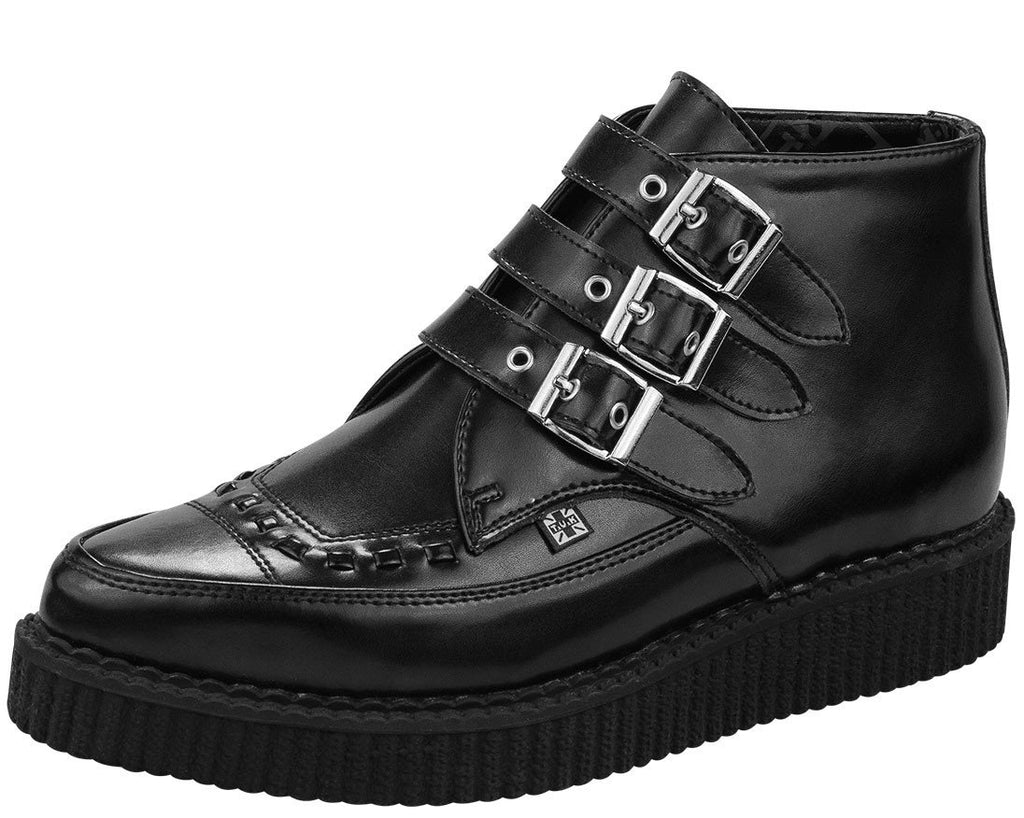 T.U.K. Shoes Mens & Womens Pointed Creeper black leather 3 buckle boot