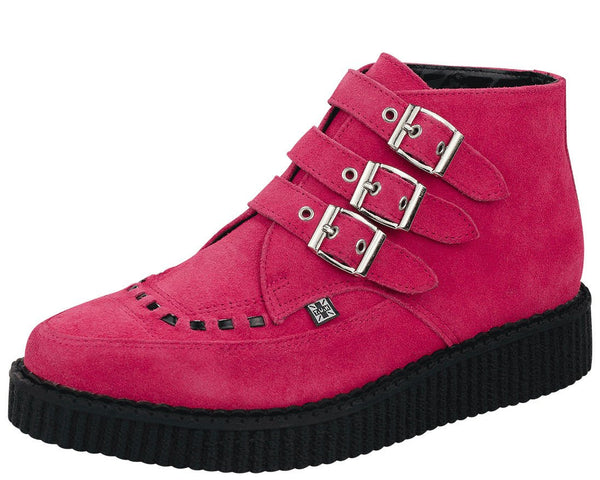 Hot Pink Suede Creeper Boots - T.U.K.
