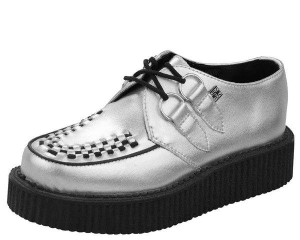 Silver Metallic Round Toe Low Creepers - T.U.K.