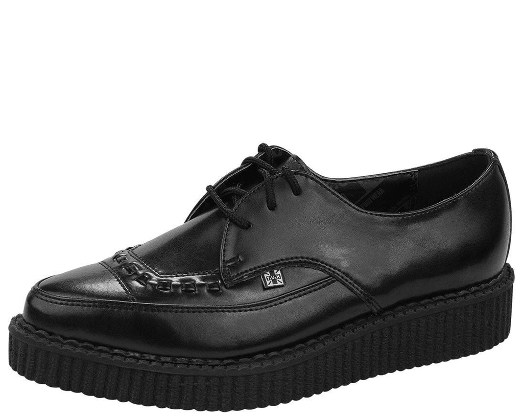 Black Leather Lace Up Pointed Creeper - T.U.K.