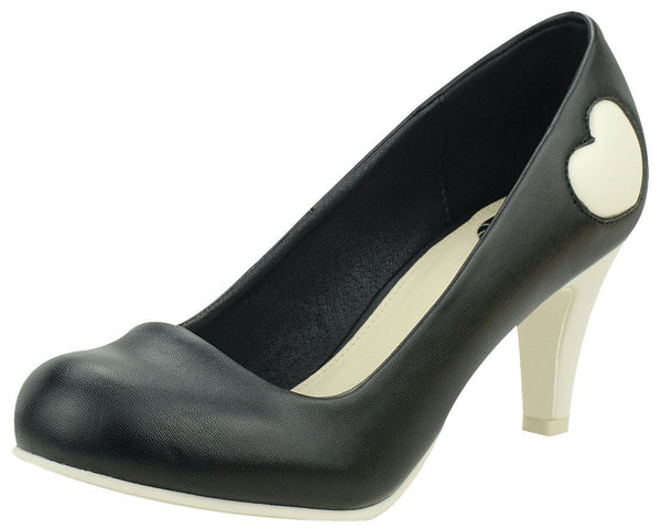 Black & Cream Heart Heels - T.U.K.