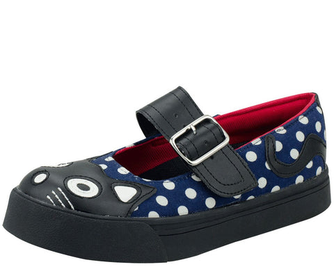 Polka Dot Kitty Mary Jane Sneakers - T.U.K.