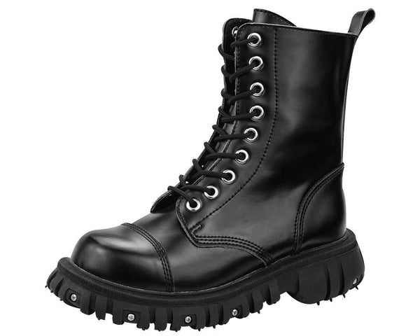 Black 9 Eye Port Boots - T.U.K.