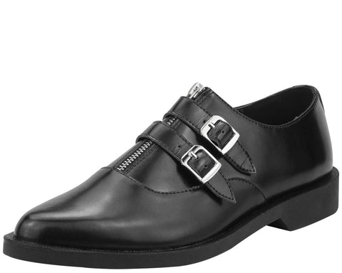 Black Zippered 2 Buckle Jam Shoe - T.U.K.
