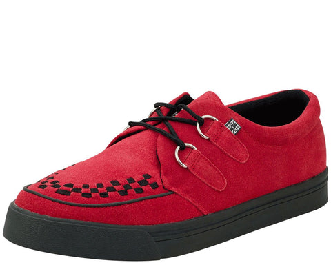 Red Suede 2 Ring Creeper Sneakers
