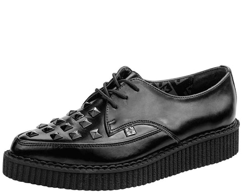 Black Studded Pointed Creepers - T.U.K.