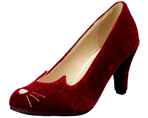 Burgundy Sophisticated Kitty Heels - T.U.K.