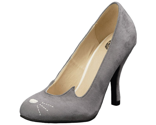 Grey Sophisticated Kitty Heels - T.U.K.