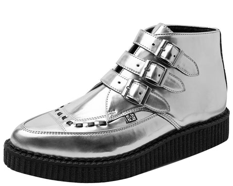 Silver 3-Buckle Pointed Boots - T.U.K.