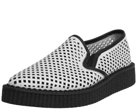 White Perforated Pointed Slip Ons - T.U.K.