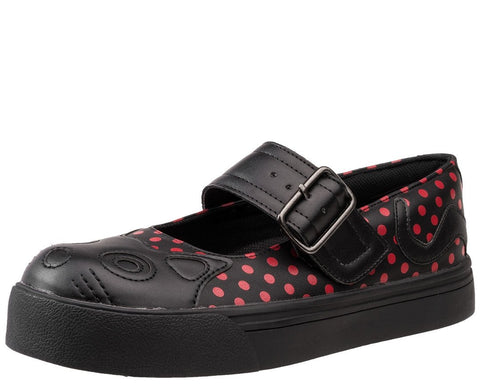 Black & Red Polka Dot Kitty Sneaker - T.U.K.