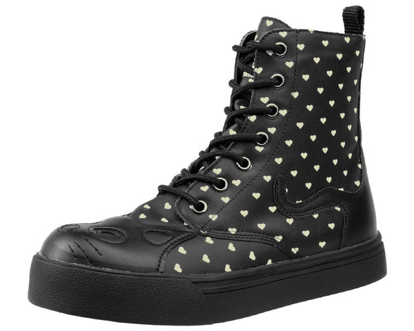 Black Out Hearts Kitty Boot - T.U.K.