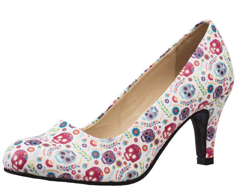 Ditsy Day of the Dead Heels - T.U.K.