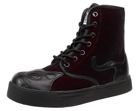 Burgundy Velvet Kitty Sneaker Boot - T.U.K.