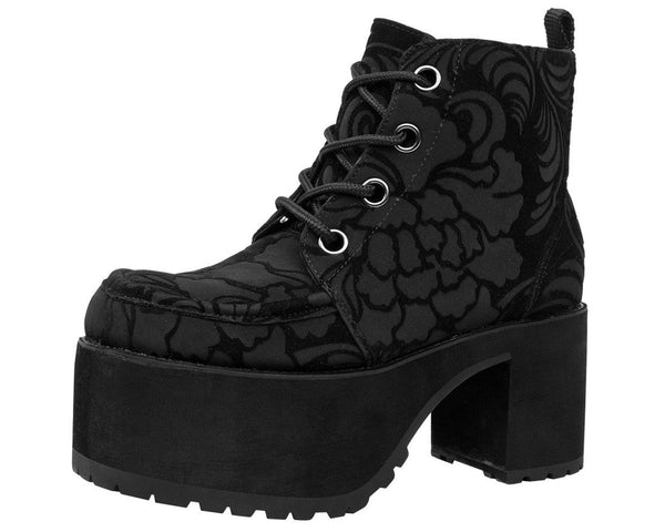 Black Burn Out Velvet Nosebleed Boot - T.U.K.