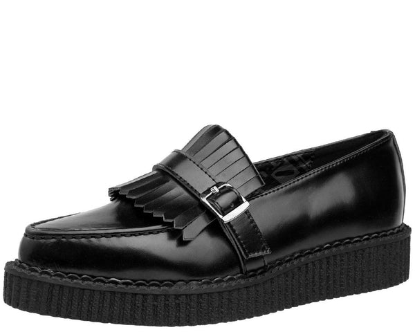 Black Kiltie Pointed Loafer Creeper - T.U.K.