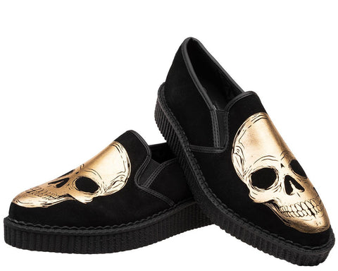 Gold Skull Pointed Slip On Creeper - T.U.K.