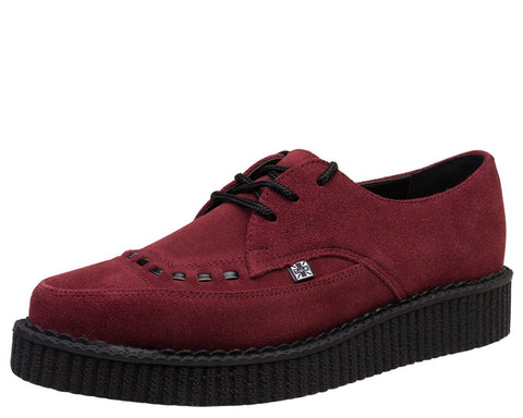 Burgundy Suede Pointed Creeper - T.U.K.
