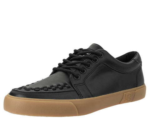 Black Leather No-Ring VLK Sneaker - T.U.K.
