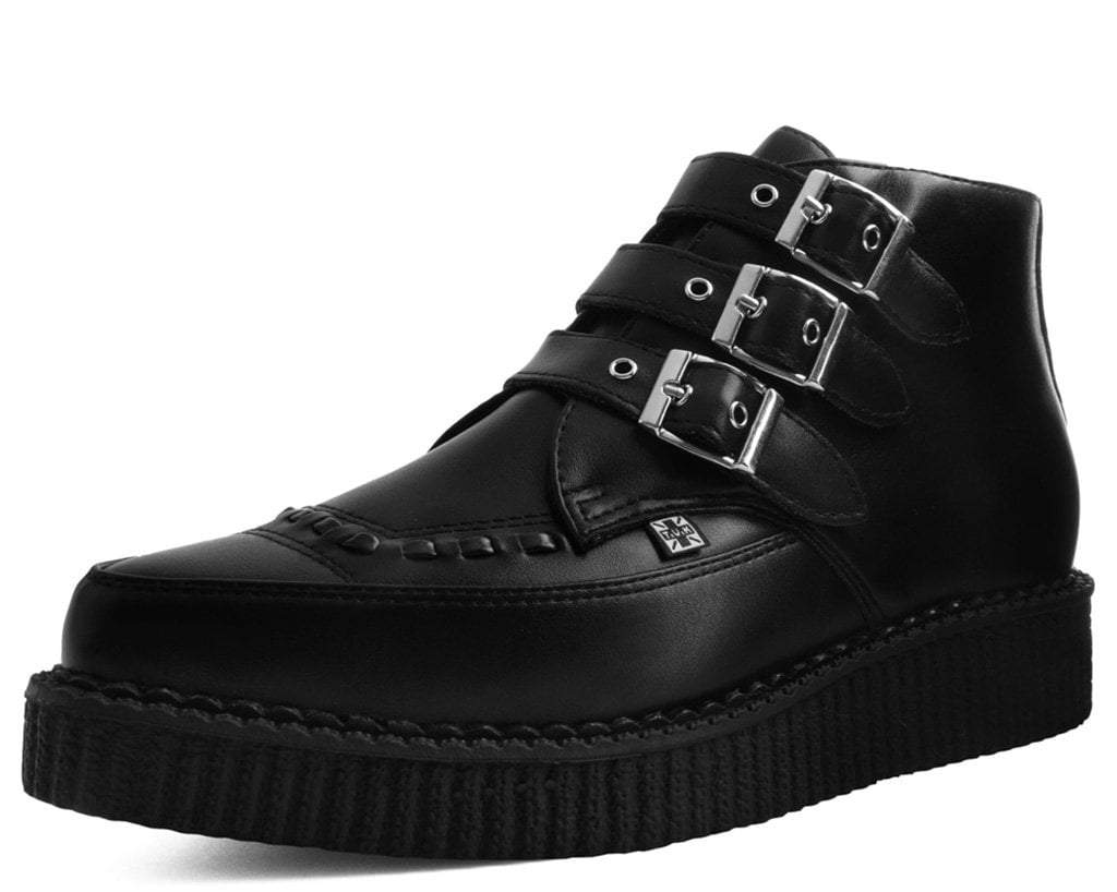 Black TUKskin™ 3-Buckle Pointed Creeper Boot