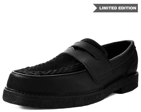Black Leather Crepe Loafer