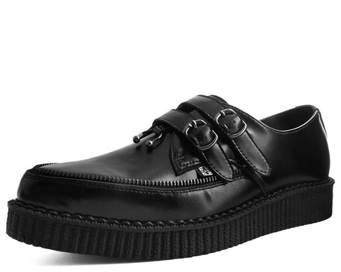 Black Leather 2-Buckle Zipper Pierced Pointed Creeper
