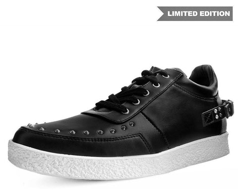 Black TUKskin™  Studded Faux Crepe Trainer