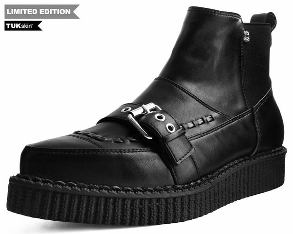 f66818a301690 Black TUKskin™ Buckle Pull-On Pointed Toe Creeper Boots