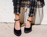 Black Pointed Ballet Ankle Strap Creeper