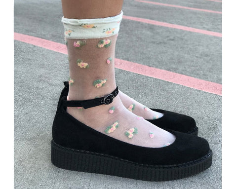 1a361e1efdd Black Pointed Ballet Vegan Ankle Strap Creepers