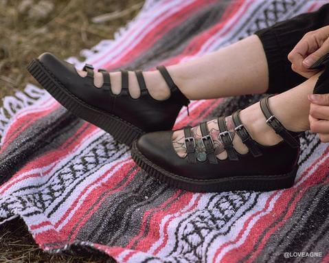555b743a292a72 Black TUKskin™ Multi-Strap Pointed Mary Jane Ballet Creepers