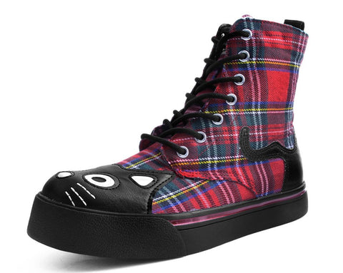 Red Tartan Plaid Kitty Sneaker Boot