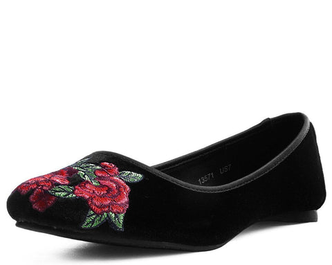 Black Velvet Rose Embroidered Flat