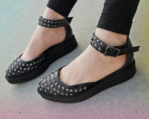 Black TUKskin™ Pointed Studded Sandal