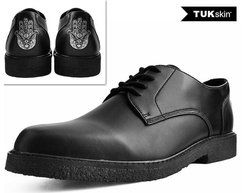 Black TUKskin™ Gibson Hamsa Hand Crepe Dress Shoe