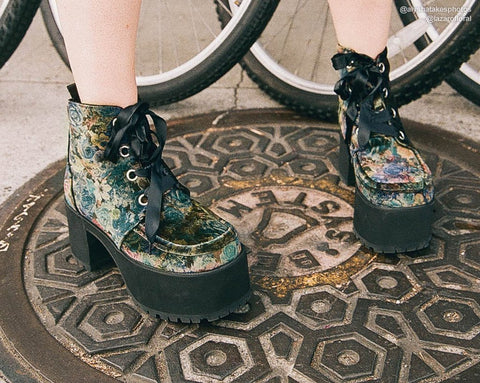 Dark Floral Velvet Nosebleed Boot