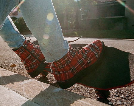 Red Plaid Pointed Lace Up Boot